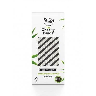 Słomki bambusowe jednorazowe czarno-biale śr 6mm dł200mm 250 szt