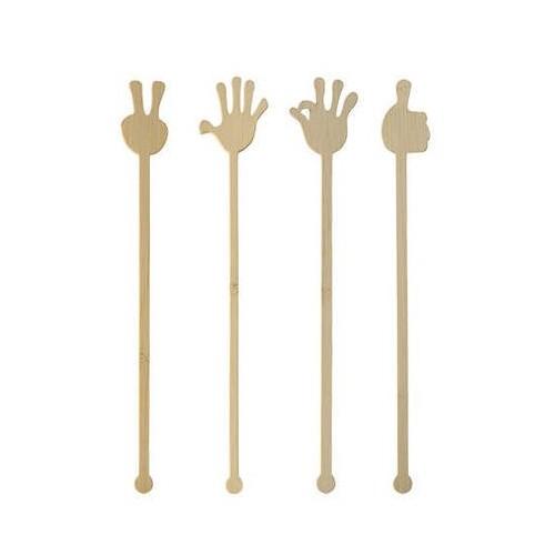 Mieszadełko do drinków bambusowe Hands 21cm 100szt