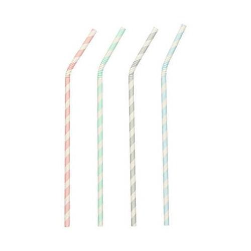 Słomki papierowe elastyczne pastelowe śr 6mm dł 220mm 100szt