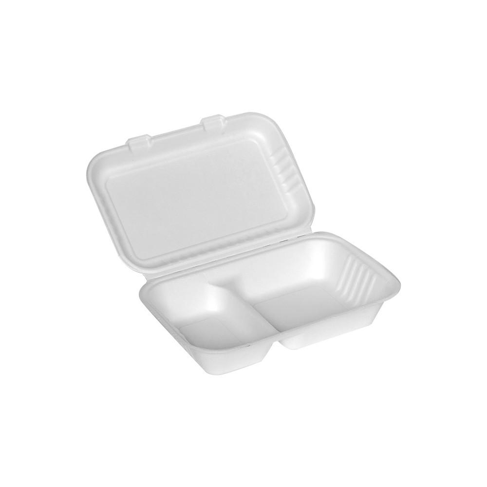 Menu box z trzciny cukrowej dwudzielny 1000ml 25 x 16 cm 125 szt.